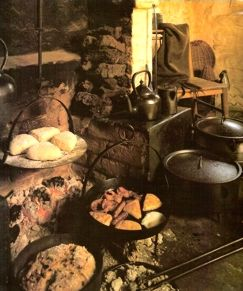 The cooking/baking hearth of an Irish cottage, circa 1780: courtesy Ulster Folk and Transport Museum