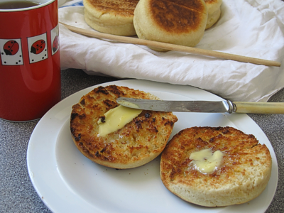 A toasted home-made English muffin