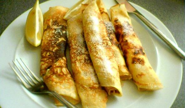 Typical rolled Pancake Tuesday pancakes