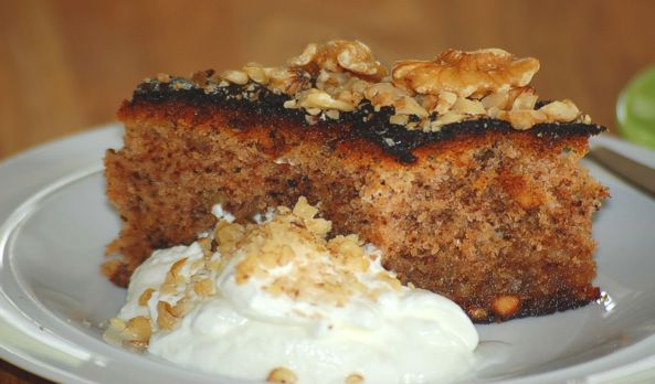 Karithopita: Greek walnut cake with olive oil (and Greek yogurt on the side)